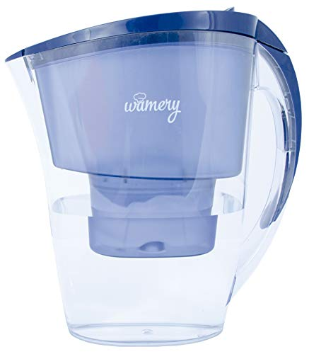 Slim WATER FILTER PITCHER. 6 cups perfect size Jug. Certified by WQA. BPA Free. Removes hard metals and taste better. Neutral replacements for a healthy diet. FREE Cartridge included (Additional Replacement Filter Cartridges)