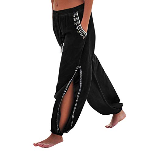 JOFOW Harem Pants Womens Boho Solid Side Slit Split Lace Casual Loose Bloomers High Waist Beach Aladdin Long Crop Trousers (L,Black -1)