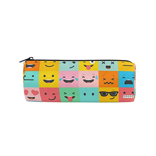 ALAZA Set Of Colorful Emoticons Emoji Pencil Pen Case Pouch