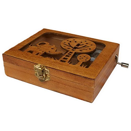 Floral Music Jewelry Box (Diwali Gifts Antique Style Wooden Jewelry Trinket Keepsake Storage Box Organizer with Floral Hand Carvings)