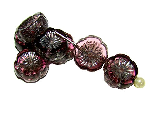 6pcs Czech Glass Beads Table Cut Flower 12 mm Amethyst Silver Picasso