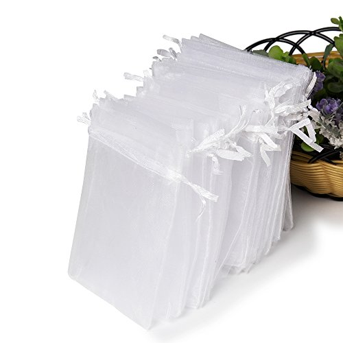 Hopttreely Premium White Organza Bags, 10X12CM (4X4.72inches) Drawstring Favor Bags for Wedding Jewelry Pouches Party Christmas Favor Gift Bags (Potpourri Gift Bundle)