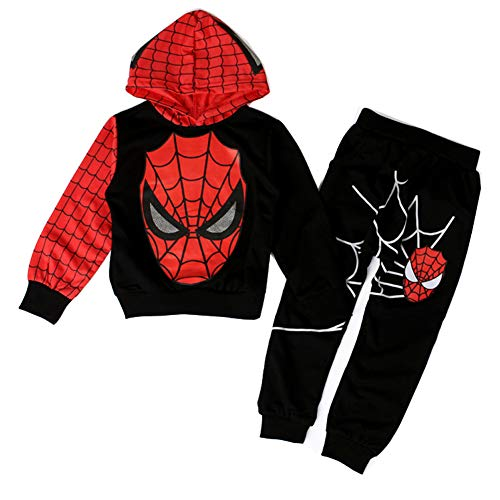 (Kids Baby Boy Spider-Man Tops+Pants Outfits&Set Boy Spring Casual Clothes 2pcs (Red-Black, 4-5Y))