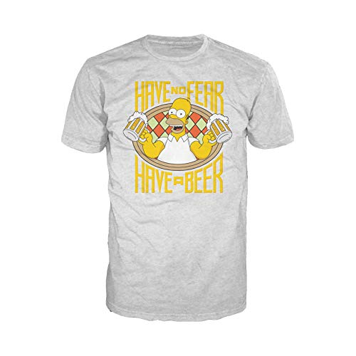 The Simpsons Homer Beer Fear Official Men's T-Shirt (Heather Grey) (Medium) - Mr Burns Homer Simpson