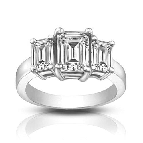 1.75 Ct Emerald Diamond (1.75 ct Three Stone Emerald Cut Diamond Engagement Ring Platinum In Size 15.5)