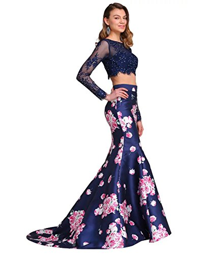 Oyeahbridal Two Piece Prom Dress Floral Print Long Sleeve Mermaid Evening Gowns, Navy Blue, 10