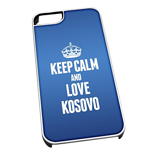 Bianco cover per iPhone 5/5S, blu 2220 Keep Calm and Love Kosovo