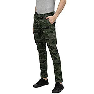 Urbano Fashion Men's Green Military Camouflage Cargo Chino Pants with 2 Pockets Slim Fit