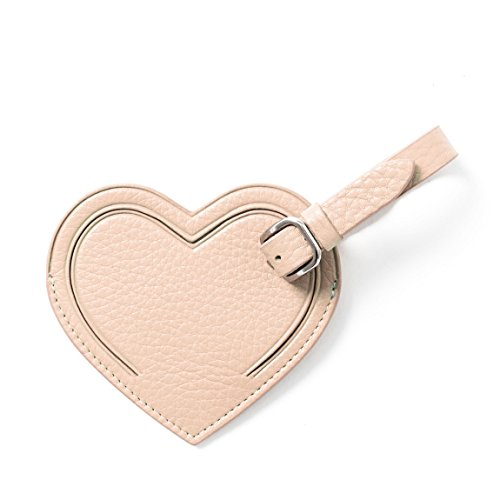 Small Heart Luggage Tag - Full Grain Leather Leather - Rose -