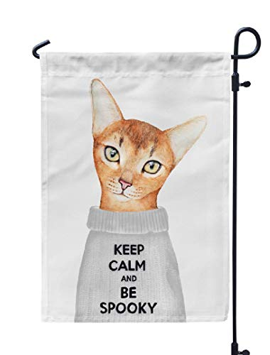 Soopat Watercolor Keep Calm Seasonal Flag, Ginger Kitty Character Dressed Grey Wool with Funny Weatherproof Double Stitched Outdoor Decorative Flags for Garden Yard 12''L x 18''W Welcome Garden Flag]()