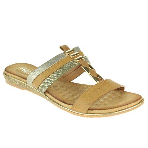 Mujer Señoras Maravilloso T-Bar playa Fijación de la hebilla Punta abierta Verano Casual Comodidad Plano Sandalias Zapatos Tamaño Caqui