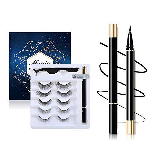 Pengxian New Material 5 Pairs of Non-Magnetic False Eyelashes Set Liquid Magnetic Eyeliner For Use with Magnetic False Lashes Pen with Special Iron Tweezers/Magnetic Eyeliner Look-No Glue Needed