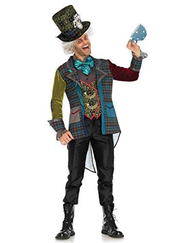Leg Avenue Men's 3 Pc Deluxe Mad Hatter Costume, Multi, (Mad Hatter Deluxe Adult Mens Costumes)