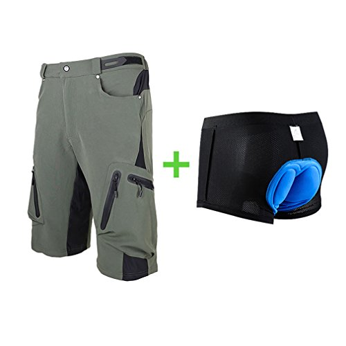Sports MTB Cycling Shorts with Padded Green M ()