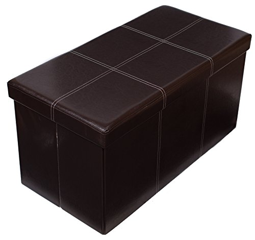 Birdrock Home Faux Leather Folding Storage Ottoman Bench | Strong (Chocolate Leather Ottoman)