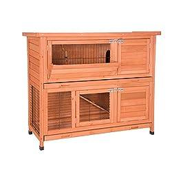 EUGAD 0001TL Hasenstall Kaninchenstall Hasenkäfig Kleintierstall Meerschweinchen Massivholz Hellrot 120 x 50 x 100,5 cm