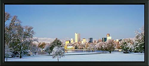 Easy Art Prints Panoramic Images's 'City Park Covered with Snow at Winter, City Park, Denver, Colorado, USA' Premium Framed Canvas Art - 35