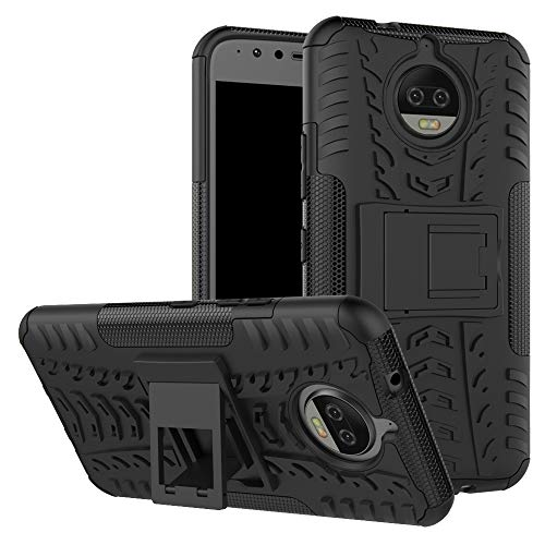 Imak Moto G5s Plus Case + Tempered Glass Screen Guard, 2in1 TPU/PC Combo [Dual Layer] [Integrated Kickstand] Rugged Heavy Duty Hybrid Armor, Shockproof Durable Tough Defender Cover (Black)