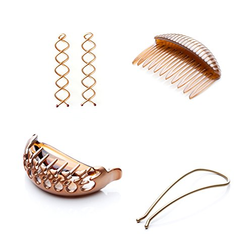 Goody Simple Styles Spin Pin, Modern Updo, Pony Pouf, Volume Boost Comb (Light Hair) Hairstyling Bundles