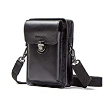 Contacts Men Leather Small Messenger Belt Bag Waist Pouch Wallet for Mobile Phone (Black)