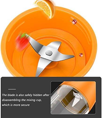 WJH9 Hogar de la pequeña Fruta y Vegetales Multifuncional Exprimidor con Cuchillo de Acero Inoxidable de Cuatro Hojas Espiral de 7,4 V Potencia del Motor luz de indicador llevada