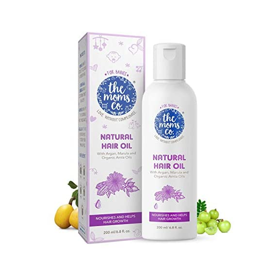 Virgin Coconut Oil | The Moms Co. Natural 10-in-1 Baby Hair Oil with Argan Oil, Marula, Avocado, Bhringraj Oil and USDA