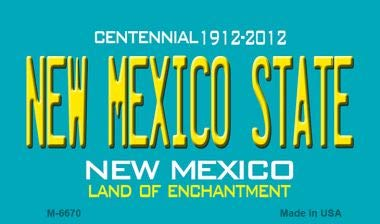 New Mexico State Novelty Magnet M-6670 Mini Licence Plate Magnet