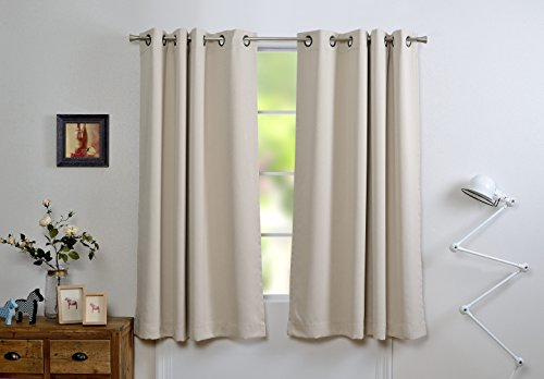 Mysky Home Dust Oil Waterproof Fire Flame Retardant Thermal Insulated Grommet Top Blackout Curtains for Living Room, 54 by 63 inch, Beige (1 Panel)