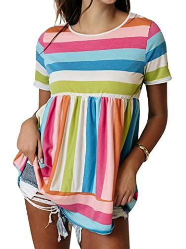 Epuyaito Women Colorful Stripe Print Top Short Sleeve Round Neck Ruching Loose Hem Tee