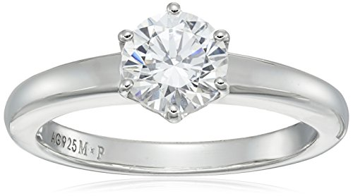 Amazon CollectionPlata de ley platinum-plated round-cut Swarovski Zirconia Solitario Anillo de compromiso (1 quilates)