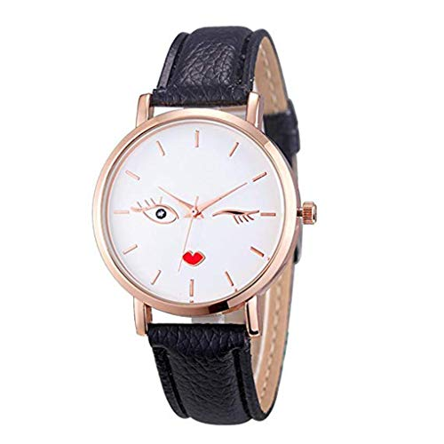 Women Round Dial Quartz Watch Unique Analog Business Casual Open Close Eyes Wristwatch Gifts