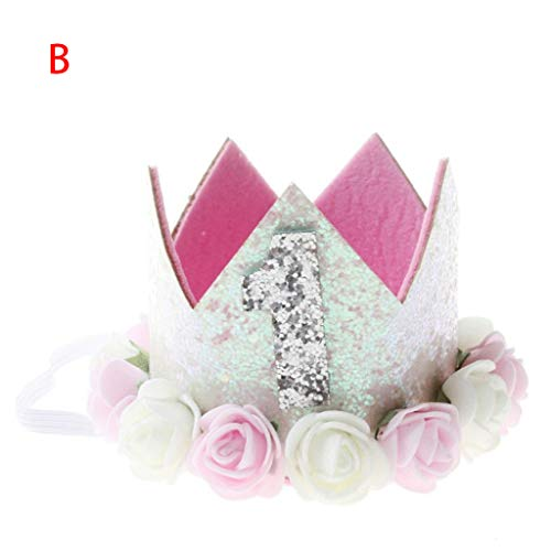 OrchidAmor Children's Rose Crown Digital Hair Band Baby Princess Prince Tiara Crown Headband Hats Birthday Party Hat Birthday Crown 2019 New Fashion (Track Safety Crown)