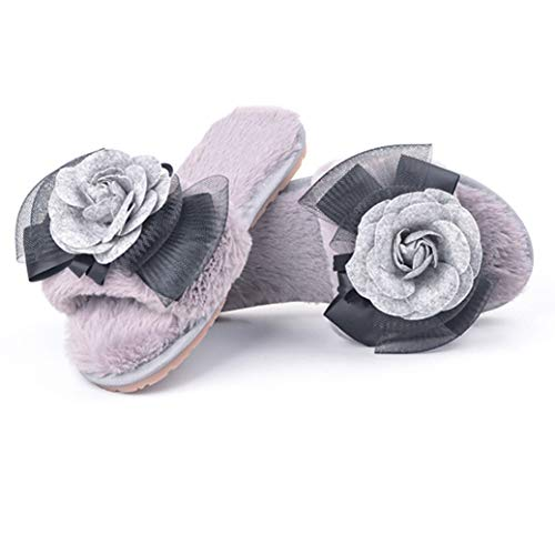 Gray Lining Fleece Plush Ladies Floral Spa Warm Home Wear for Women's for Cute Flats Slipper Fur House Indoor xTwYgzYq