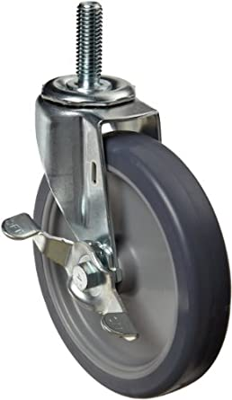 E.R. Wagner Stem Caster, Swivel with Pinch Brake, TPR Rubber on Polyolefin Wheel