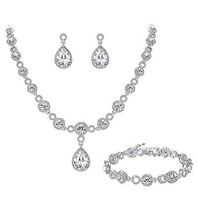 BriLove Women's Fashion Wedding Bride Crystal Infinity Figure 8 Teardrop Y-Necklace Bracelet Earrings Set