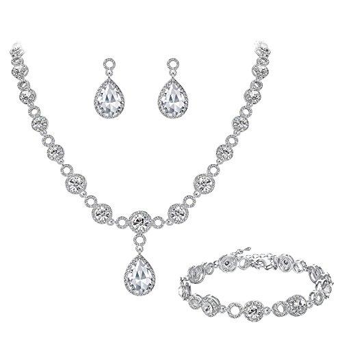 BriLove Wedding Bridal Necklace Bracelet Earrings Jewelry Set for Women Crystal Infinity Figure 8 Teardrop Y-Necklace Dangle Earrings Tennis Bracelet Set Clear Silver-Tone ()