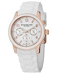 Stuhrling Original Women's 796.01 Vogue Audrey Eden Swiss Quartz Day and Date White Rubber Watch