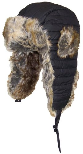 D&Y Puffer Nylon Russian/Trapper Hat with Super Soft Faux Fur (One Size)