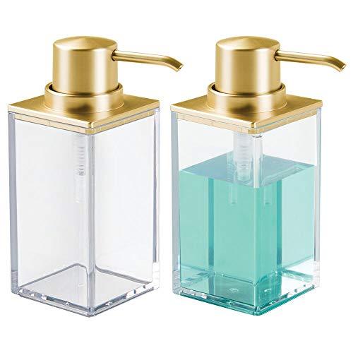 mDesign Modern Square Plastic Refillable Soap Dispenser Pump Bottle for Bathroom Vanity Countertop, Kitchen Sink - Holds Hand Soap, Dish Soap, Hand Sanitizer, Essential Oils - 2 Pack - - Bathroom Soap Gold Dispenser