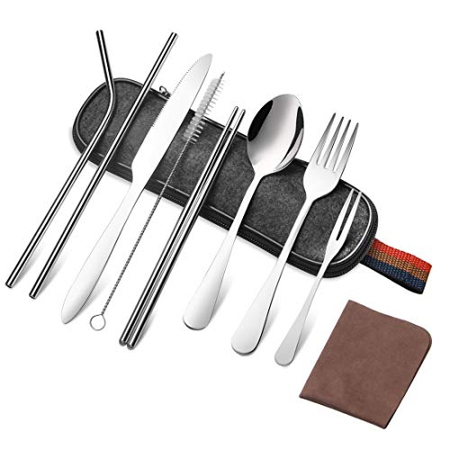 Portable Utensils Set,Travel Camping Cutlery Bulk with Storage Cloth Bag,Reusable Stainless Steel Flatware Set,Including Knife Fork Spoon Straws Chopsticks Cleaning Brush & Cloth Cleaning Stainless Steel Flatware