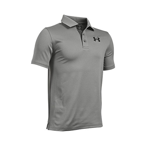 Under Armour Boys' Match Play Polo, True Gray Heather/Black, Youth X-Small by Under Armour