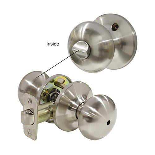 Probrico 10 Pack Privacy Door Lockset Stainless Steel Keyless Door Knobs Lock Set Handles Brushed Nickel (Bedroom & Bathroom) by Probrico (Image #1)