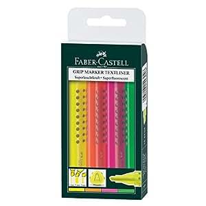 Faber-Castell 154304 - Pack con 4 resaltadores de texto, color amarillo / rosa / naranja / verde
