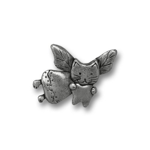top Pewter Cat Tooth Fairy Lapel Pin by The Magic Zoo for cheap