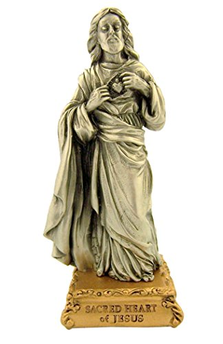 The Michelangelo Liturgical Sculpture Collection Pewter Sacred Heart of Jesus Figurine Statue on Gold Tone Base, 4 1/2 - Pewter Heart Figurine