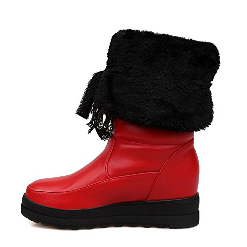 Round Boots Women's Heels Closed Material Mid on top Pull AgooLar Toe Low Soft Red awd67zHaqn