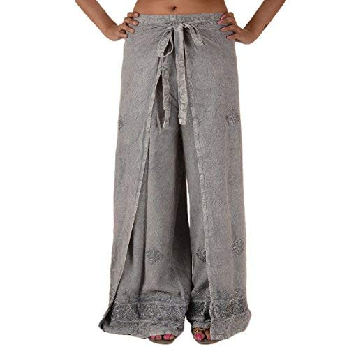 Skirts N Scarves  Rayon Embroidered Aladdin Pant,Grey,One Size