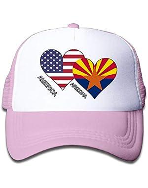 America Arizona Flag Heart On Kids Trucker Hat, Youth Toddler Mesh Hats Baseball Cap