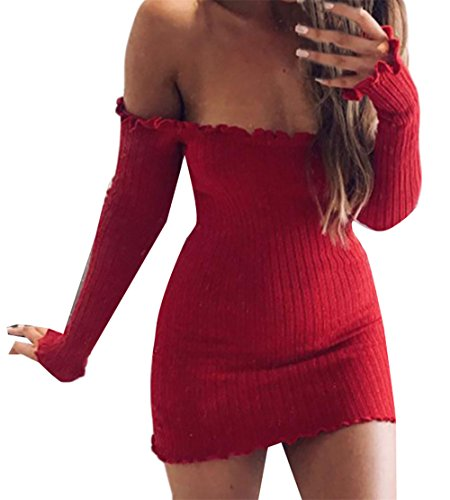 Cromoncent Pencial Elastic Dress Bodycon Womens Red Mini Long Sleeve Shoulder Off qrC4UxwPq