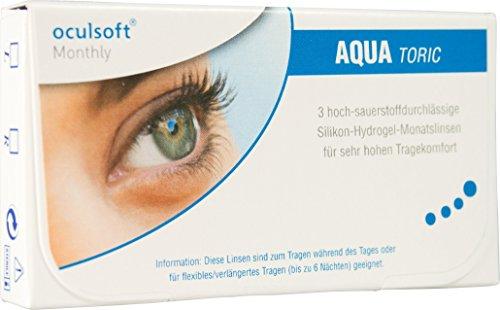 Oculsoft Monthly Aqua Toric, torische Monatslinsen weich, 3 Stück / BC 8.7 mm / DIA 14.5